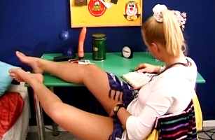 Blonde Cora C reaches a huge orgasm and she is satisfied