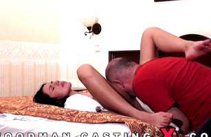 Swingeing barely legal brunette maiden and man are making a home video for the first time