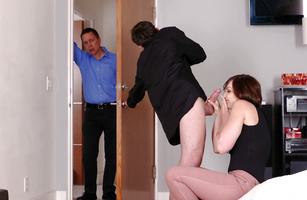 Kinky Yasmin Scott can't wait to get her mouth around stiff schlong
