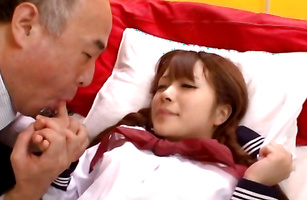 Lusty young girl Riona Minami is bouncing up and down all over male's lever