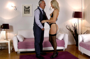 Fascinating young blonde girlie Blanche wears nothing while giving a blowjob