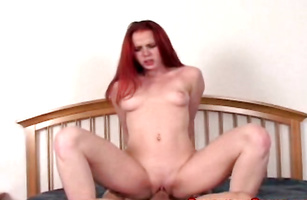 Swingeing redhead Candi is having her first fuck of the day and loving it