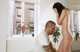 Beautiful brown-haired girl Tina Fox hungrily slobbers on a hard mamba