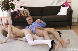 Savory blond maid Angel Hott loves jumping on thick dong