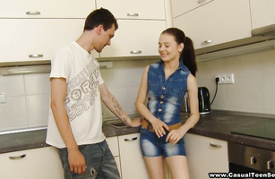 Talented chap bows petite sexual Timea Bella with great tits