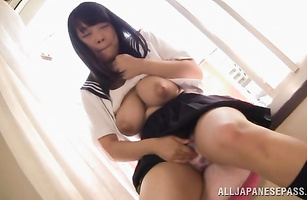 Prurient maiden Ai Satou with handsome tits has a knob to take care off