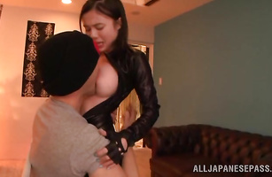 Delightful maid Aimi Yoshikawa with big tits is fucking stranger like crazy because she can't get enough of his shaft