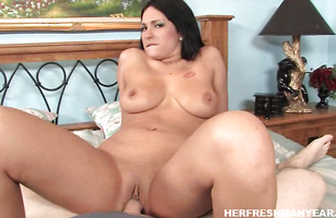 Savory young Kitty Bella with round natural tits is fucking bf like crazy