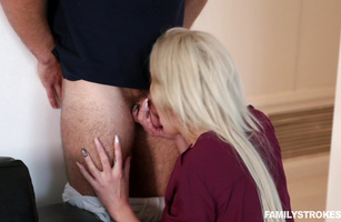 Passionate Nina Elle chokes on a slim jim before being banged