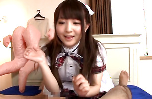 Magnificent Yui Sasaki moans since the cock feels good