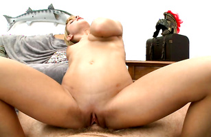 Lustful floozy Caprice rides that chili dog too hard
