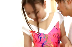 Lucky stranger gets a mind blowing handjob from young maiden Maho Ichikawa