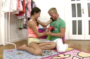 Lovely young Daria C gives her partner a strong blowjob